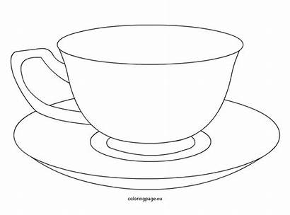 Tea Cup Coloring Teacup Template Saucer Drawing