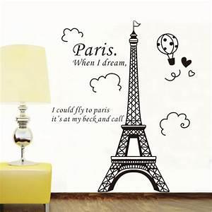 elegant paris eiffel tower vinyl lovely wall sticker With paris wall decals