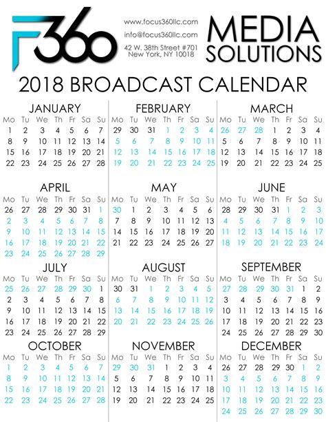 focus broadcast calendar