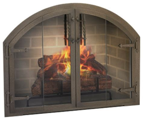 Custom Arch Blacksmith Fireplace Glass Door Traditional