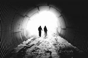 black and white, tunnel, couple, boy and girl, - image