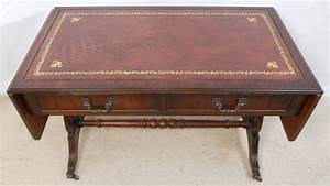 sold leather top mahogany sofa coffee table in antique With antique leather top coffee table