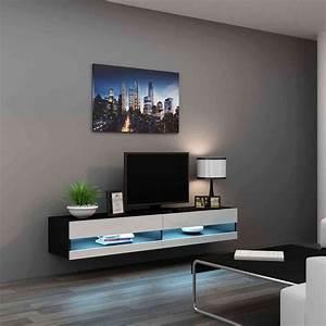Banc Tv Suspendu : meuble tv vigo 180 noir et blanc ~ Teatrodelosmanantiales.com Idées de Décoration