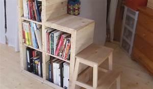 Fabriquer Une Mezzanine Soi Même : biblioth que escalier pour lit mezzanine en palette ~ Premium-room.com Idées de Décoration
