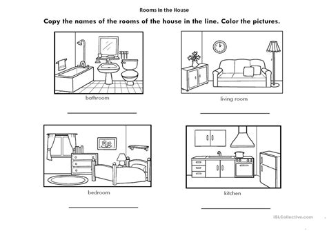 rooms   house english esl worksheets  distance