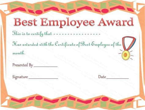 employee award certificate template  images