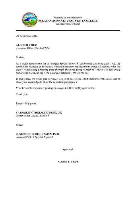 Communication letter for guest speaker 1