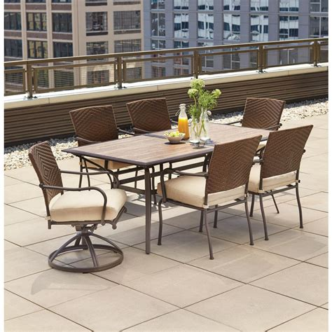 7 patio dining set hton bay pin oak 7 wicker outdoor dining set with