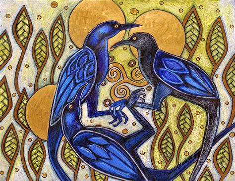 Three Ravens Mixed Media by Lynnette Shelley