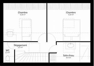 plan maison a etage avec 2 chambres ooreka With plan de maison avec 2 chambres a l tage