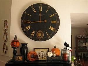 50 awesome halloween decorating ideas fireplace with wood for Wall clock decorating ideas
