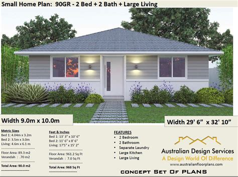 2 Bedroom House Plan 968 sq feet or 90 m2 2 small home Etsy