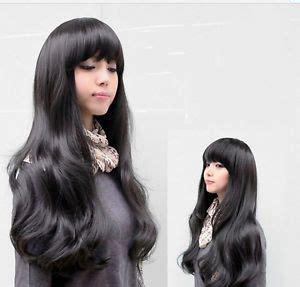 Black wig, Korean girl and Long wavy hair on Pinterest