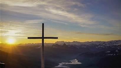 Sunset Sky Cross 4k Under Background