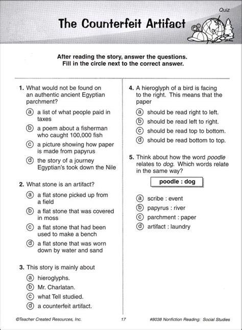 grade reading comprehension exercises worksheets