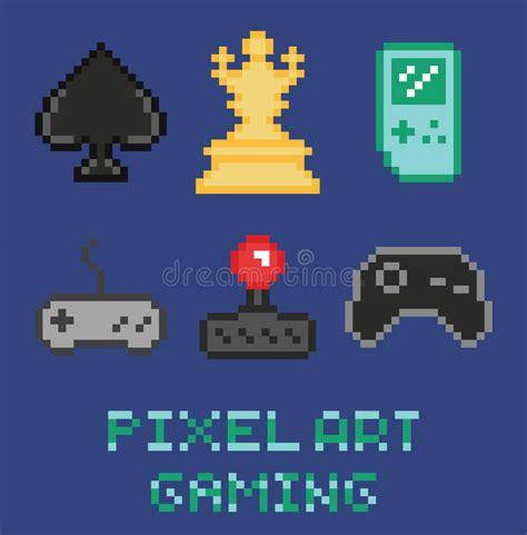 Pixel Art Game Design Icon Set Chess Gamepades Stock