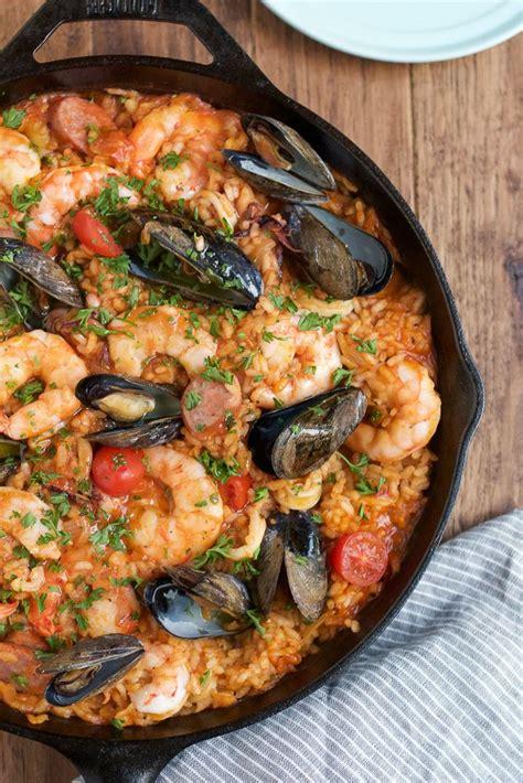 easy seafood recipes seafood paella recipe seafood paella paella pan and paella