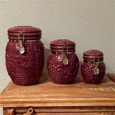 burgundy kitchen canisters 131 best images about vtg kitchen maroons on