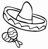 Coloring Sombrero Mexican Cinco Mayo Fiesta Clip Maracas Pages Printable Drawing Clipart Sombreros Hat Draw Cliparts Spanish Coloring4free Mexica Things sketch template