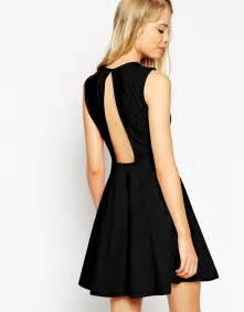 asos collection sleeveless skater dress with cut out back With robe dos nu noire