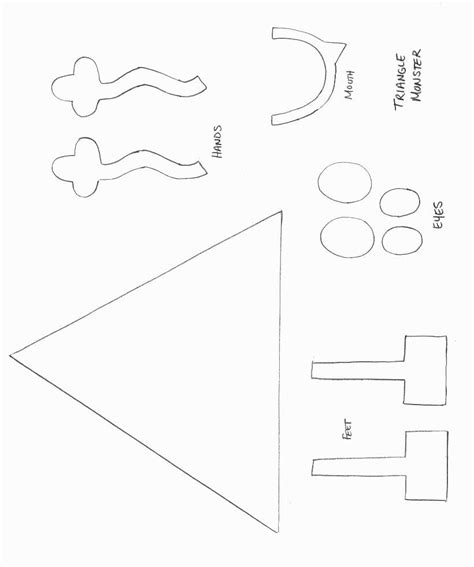 triangle template for kid craft monster craft template shapes crafts print your
