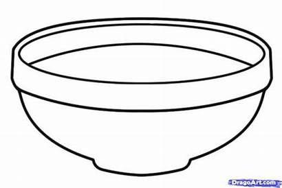 Bowl Fruit Drawing Clipart Cereal Coloring Bowls