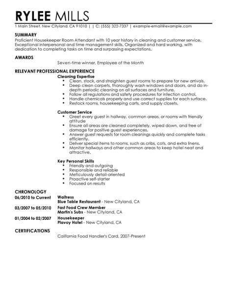 housekeeper room attendant resume  livecareer