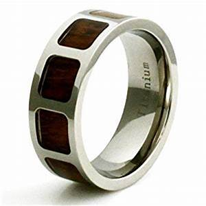 titanium wood inlay film reel windowed wedding band ring With wooden wedding rings amazon