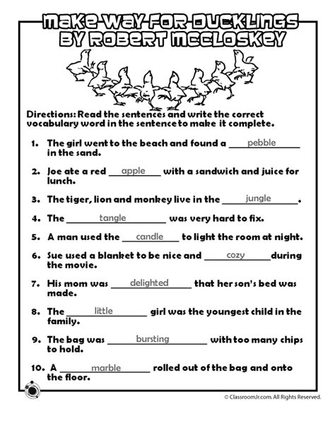 ducklings vocabulary worksheet answer key