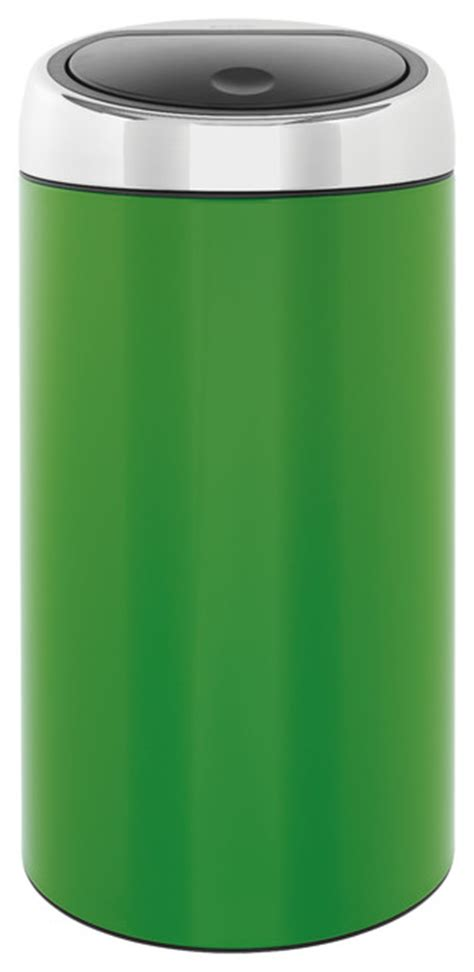 green kitchen trash can brabantia touch bin 174 de luxe apple green modern trash 4031