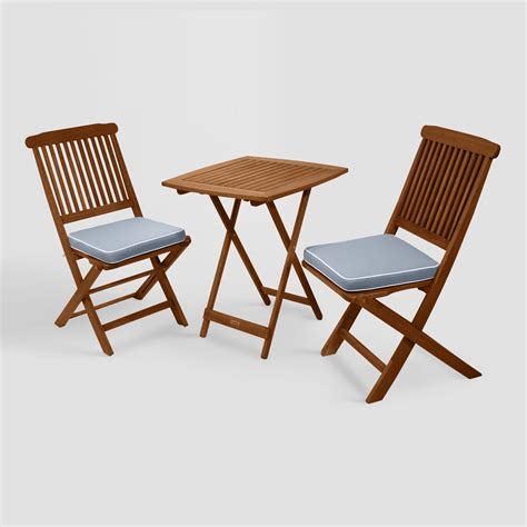 wood cavallo 3 outdoor bistro set with gray cushions