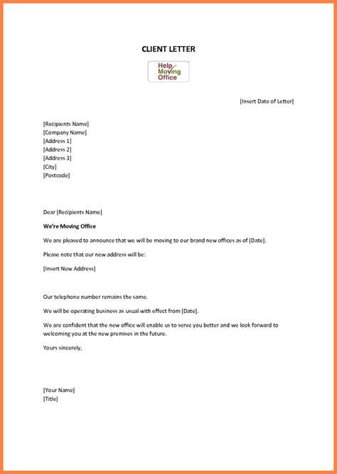 change  address notice template notice letter