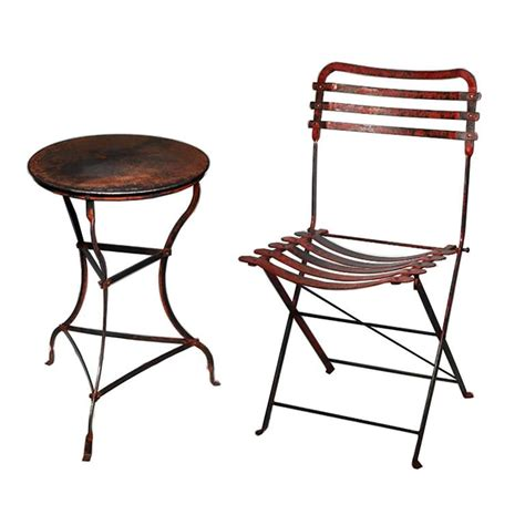 late 19th century steel folding bistro chair and