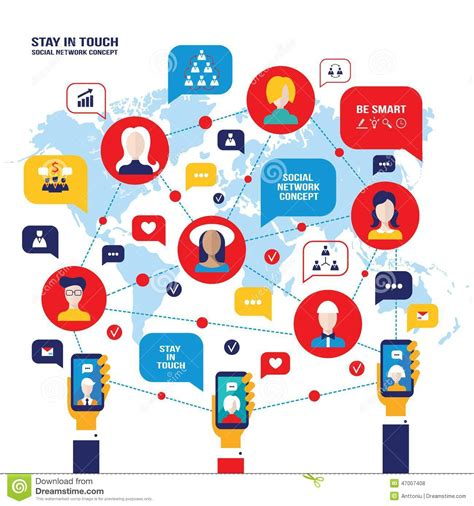 Social Network Concept People Avatars Mobile Smart Phones