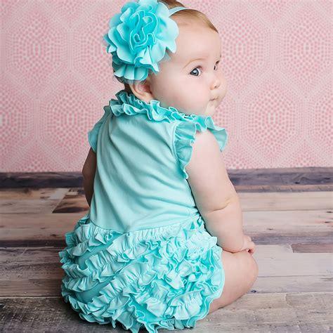 Lemon Loves Layette Aqua Blue Baby Girl Romper Rula