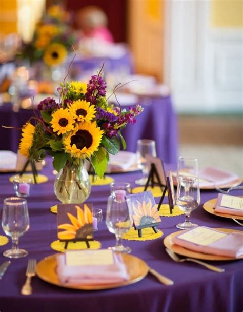 sunflower wedding purple and yellow