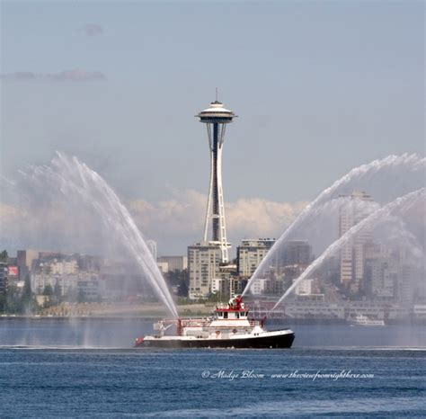 Boat Fire Seattle by Seattle Fire Boat Leschi And Space Needle The View From