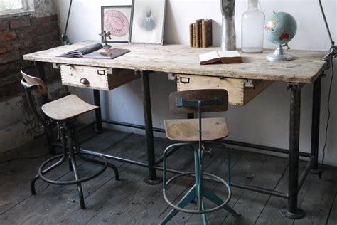 bureau metal et bois bureau industriel poste de travail metal et bois