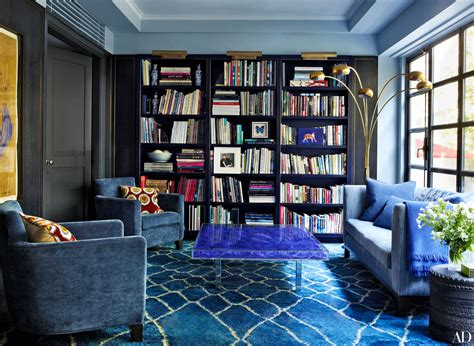 beautiful blue home library