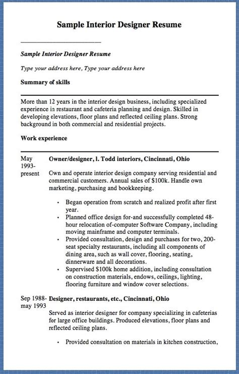 Interior Designer Resume Skills by 1000 Ideas About Interior Design Resume On Interior Design Portfolios Resume
