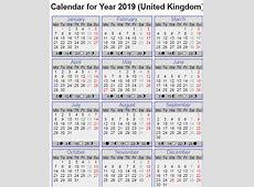 Get Yearly 2019 Calendar with UK [United Kingdom] Holidays