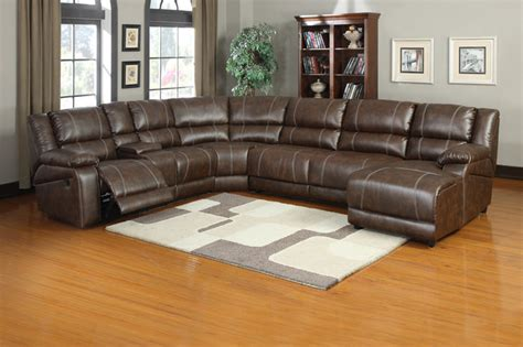 soft brown leather reclining sectional sofa push