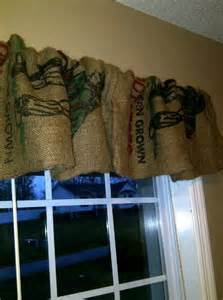 Burlap Coffee Sack Window Valances