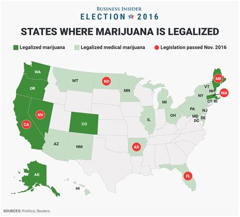 states voting for legalization of pot 7 states that legalized marijuana on election day business insider