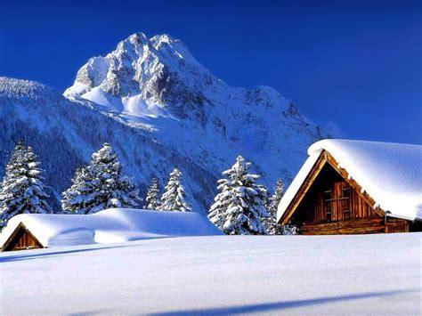 fond d ecran paysage hiver neige montagne cabane 38