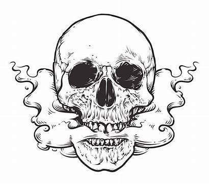 Skull Smoke Vector Smoking Tattoo Illustration Mouth