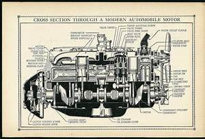 Vintage 1930 U0026 39 S Car Motor Diagram Illustration - Super Automobile Industrial Art