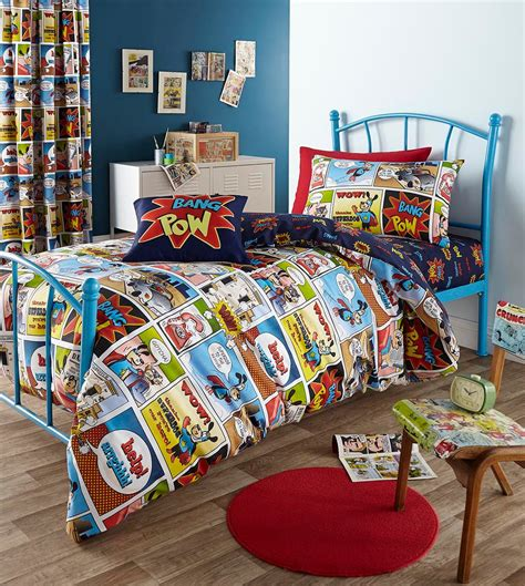 comic themed bedroom boys superhero comic theme bedding set with curtain in blue and white painted wall bedroom of