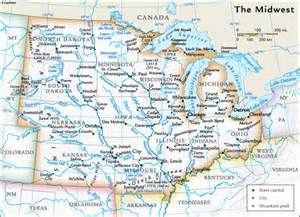 Midwest Region Map with Rivers