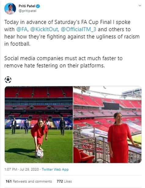 Priti Patel: Social media firms have let football racism ...